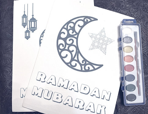 Ramadan Mubarak color me canvas set