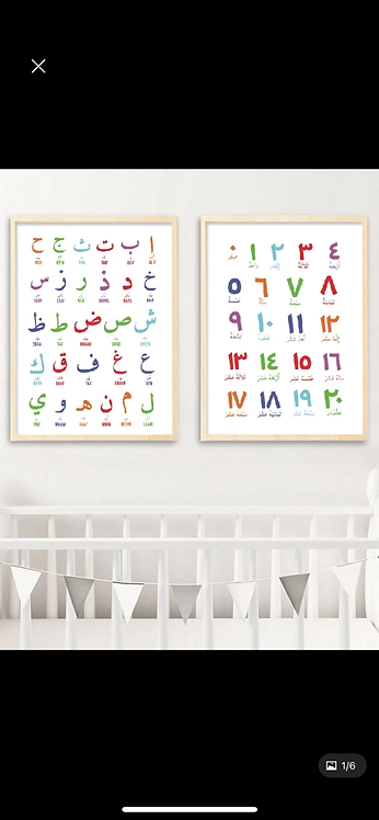 Arabic numbers and letters canvas set