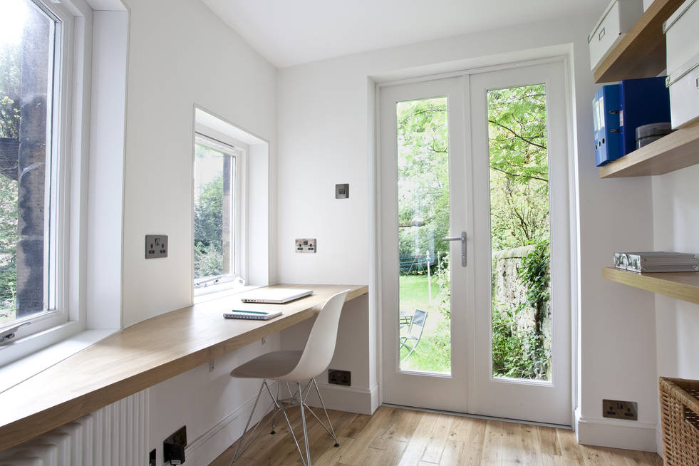 Refurbishment and rearrangment of the kitchen, study and bathroom within a tenement home in Edinburgh.