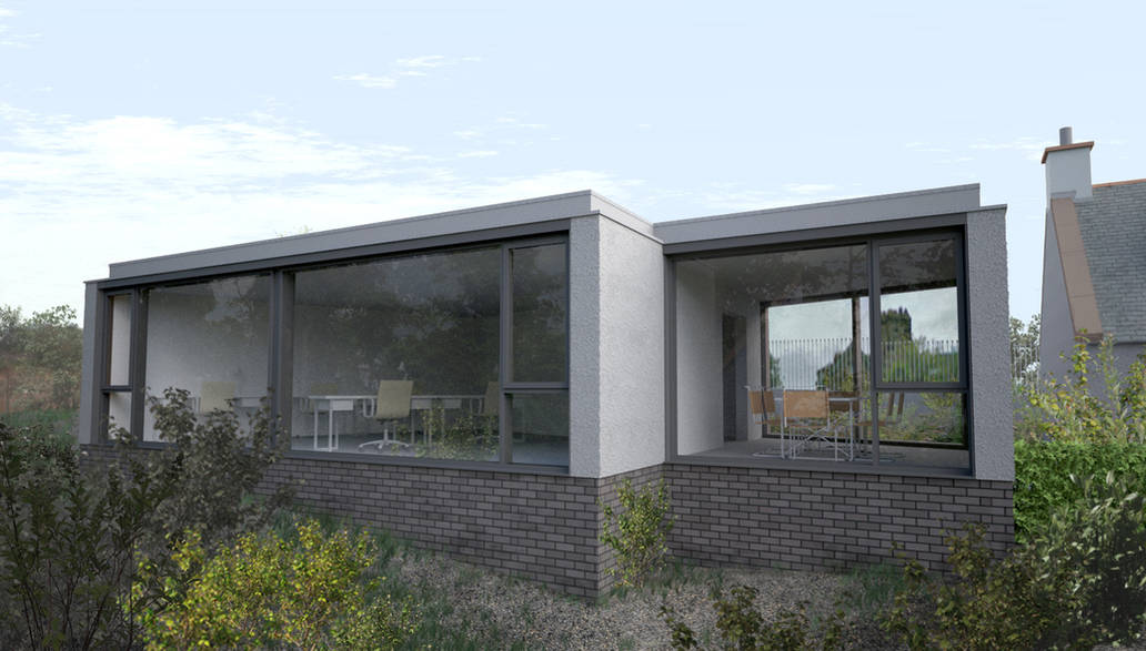 New contemporary office building on a brownfield site within Colinton Conservation Village.