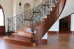 Mahogany panels on curved stair
