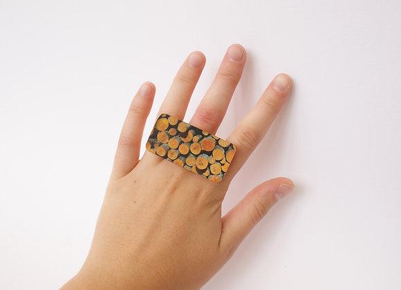 Orange Log Pile Ring