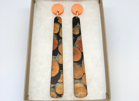 Orange Log Earrings