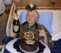 Our client celebrating her 90th birthday. Thistlecreek Home Health Care, caregiver service