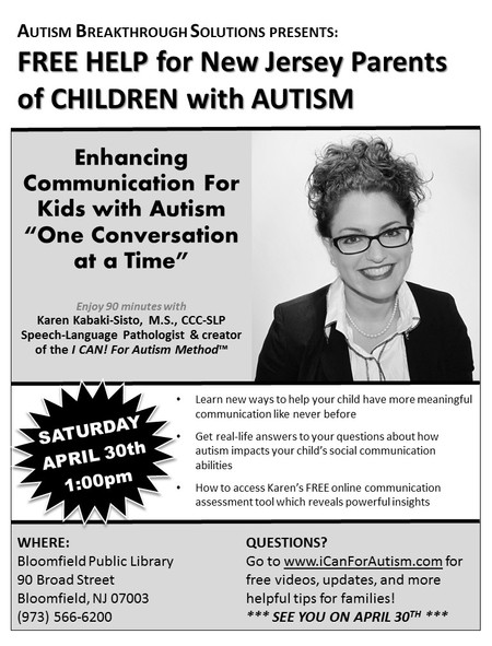FREE Workshop for North Jersey Parents of Children with Autism