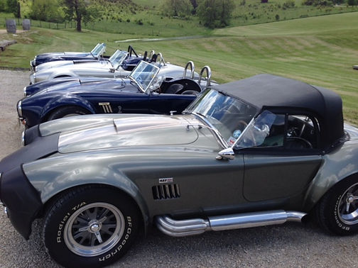 Close up view of the Shelby cars
