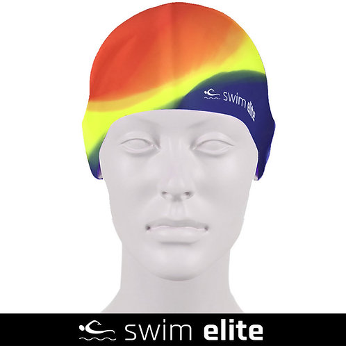 Multi Red/Yellow/Blue Silicone Swimming Cap