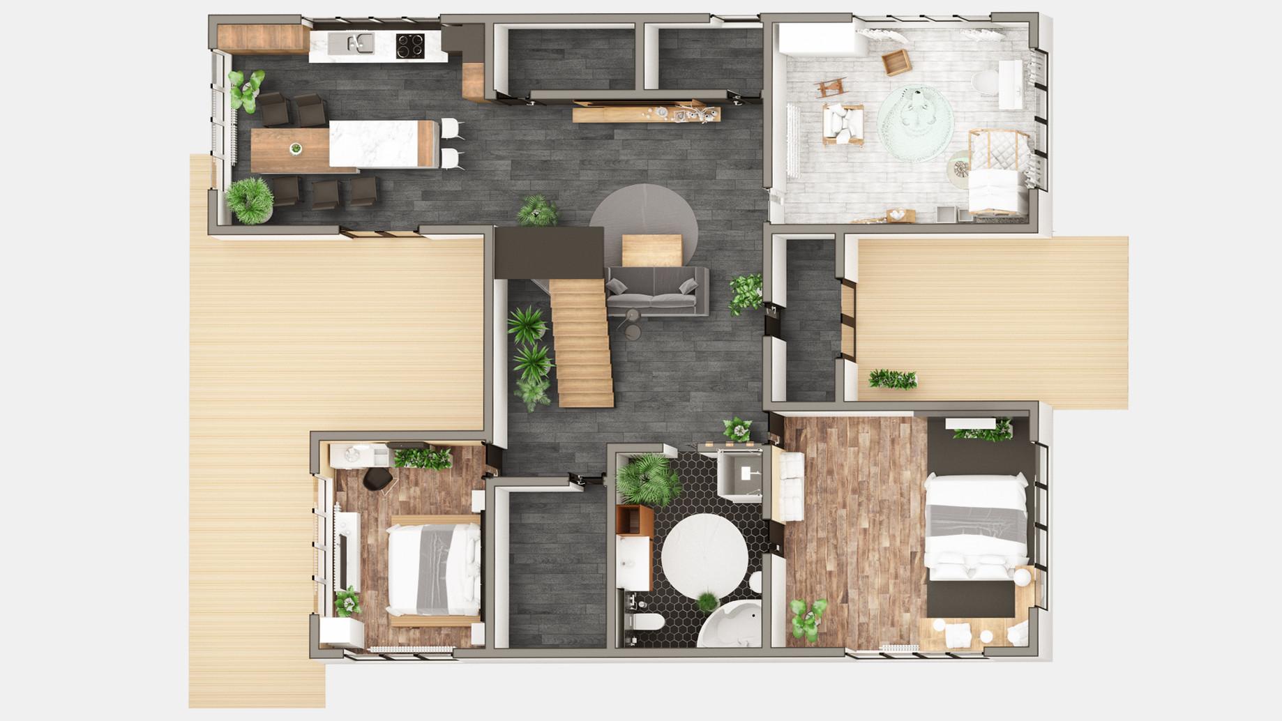 Дом в Москве, 3D планировка