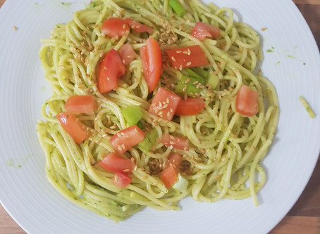 June recipe: Pasta with Avocado and Spinach Pesto