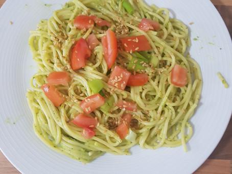 June recipe: Pasta with Avocado and Spinach Pesto