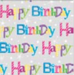 BF314B Happy Birthday Flat Wrapping Paper