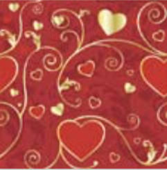 BF312 Red Love Flat Wrapping Paper