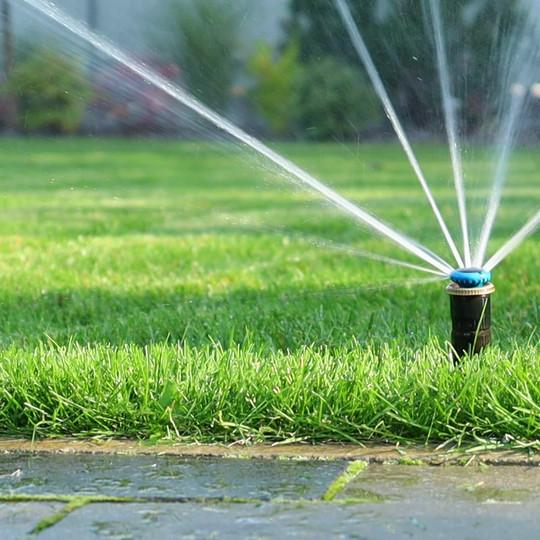 Grass irrigation. Garden Irrigation spri