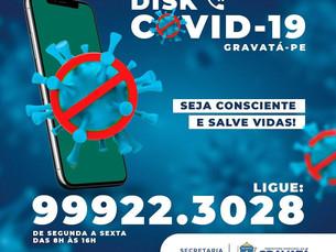 Secretaria de Saúde de Gravatá disponibiliza o Disk COVID-19 para a população