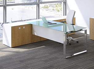 Fulcrum Modern glass desk with storage