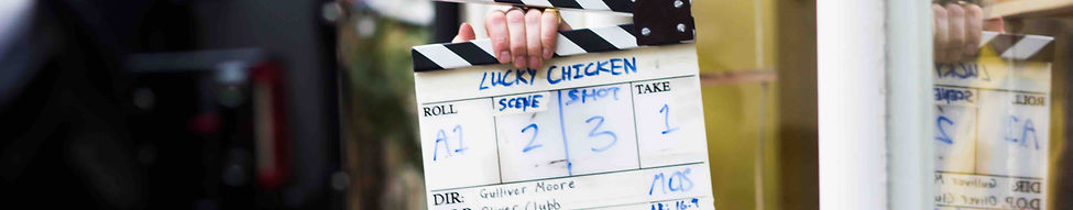 Clapperboard on the film set of Lucky Chicken