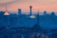 Ankara in sunset - Skyline view with maj