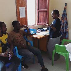 Atsede providing counselling for a young