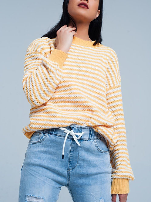 Yellow Striped Knitted Sweater
