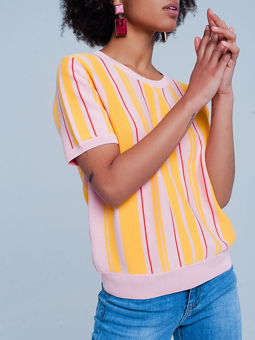 Pink Striped Short Sleeve Sweater