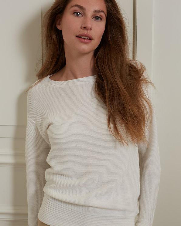 Sweater YAYA • Rib stitches white