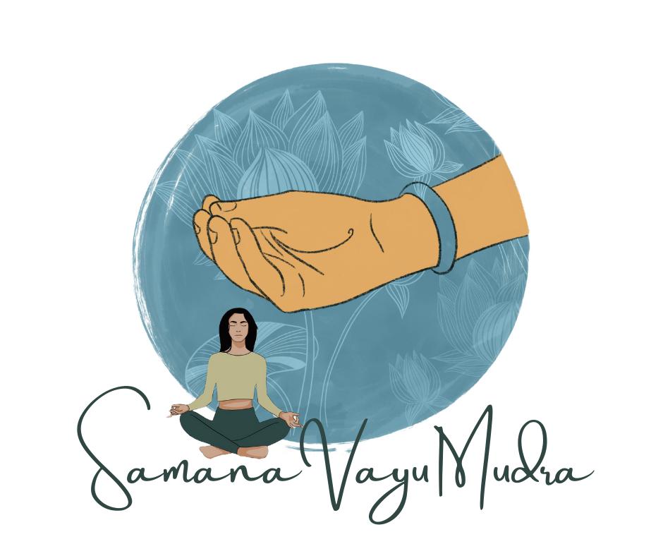 Samana Vayu Mudra with woman meditating and close up of hand gesture