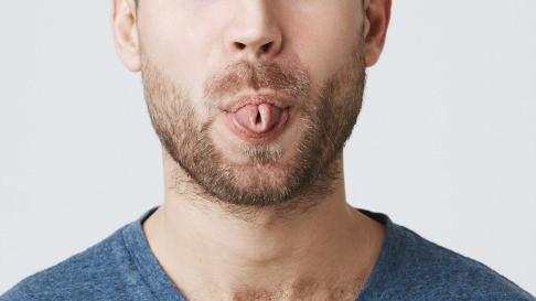 Close up of curled tongue during Sheetali Pranayama