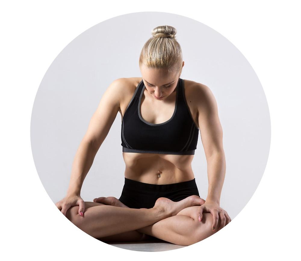 young woman doing Throat Lock in Lotus Posture