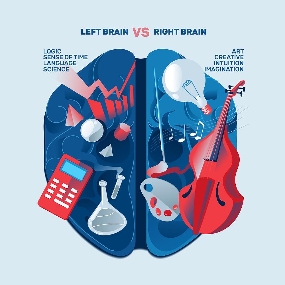 Left Brain vs Right Brain info graphic