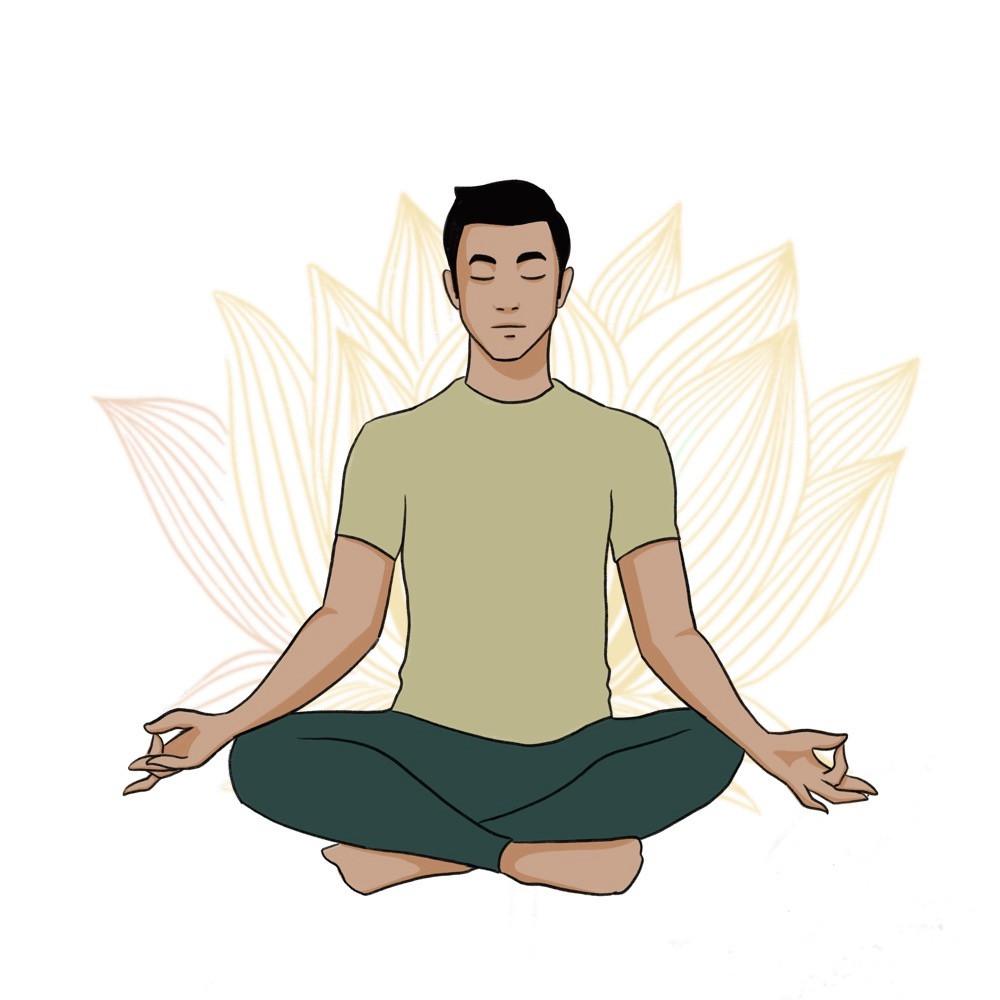 Illustration of young man doing Mula Bandha
