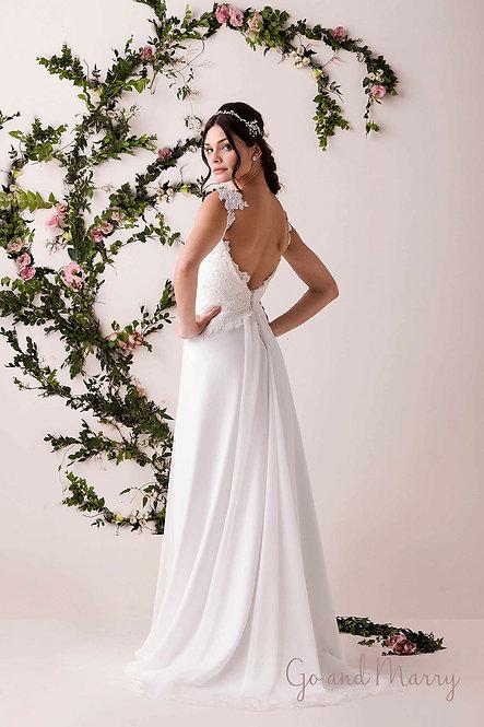 Vestido Celine com Detalhe de Ombro e Bordado Salpicado