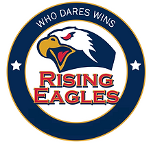 Circular logo that reads Who Dares Wins at the top with Eagle head and words Rising Eagles in middle