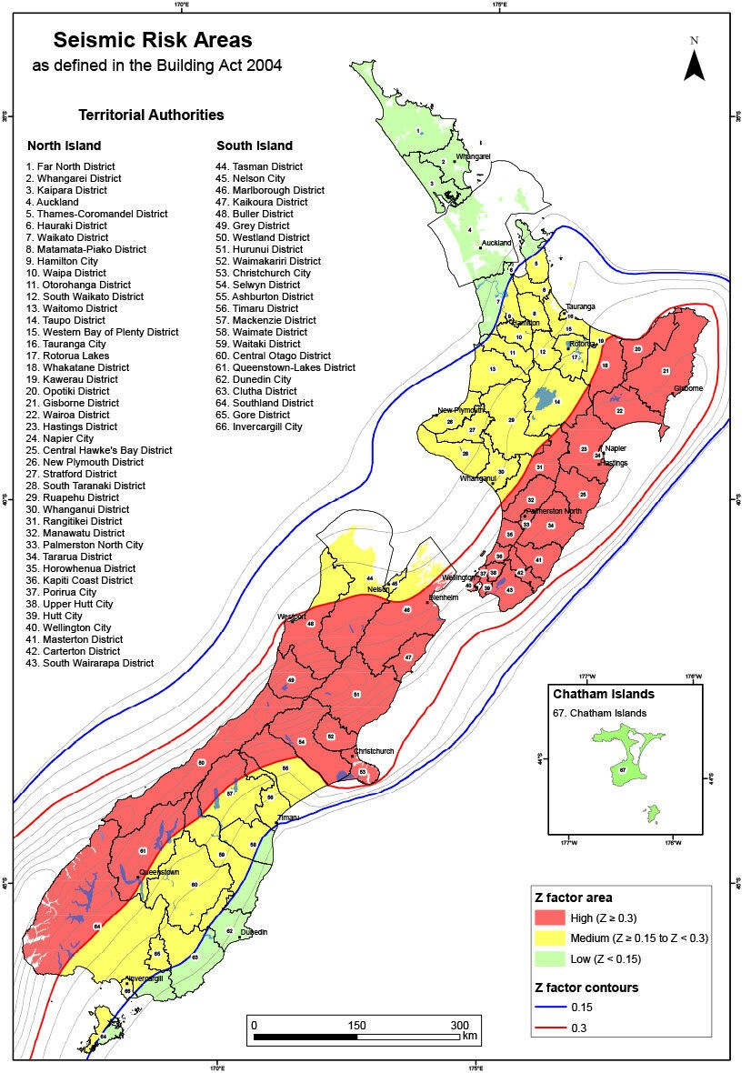 New Zealand seismic risk map (source: MBIE)