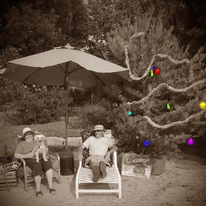 Bob, Susan and Bella Enjoying A Beach Day At Windy Knoll