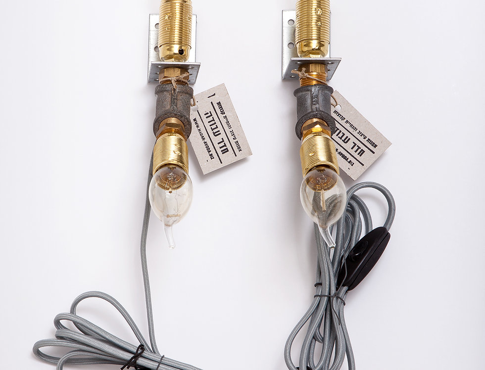 זוג מנורות קיר כפולות משולבות לחדר שינה 5*35*17