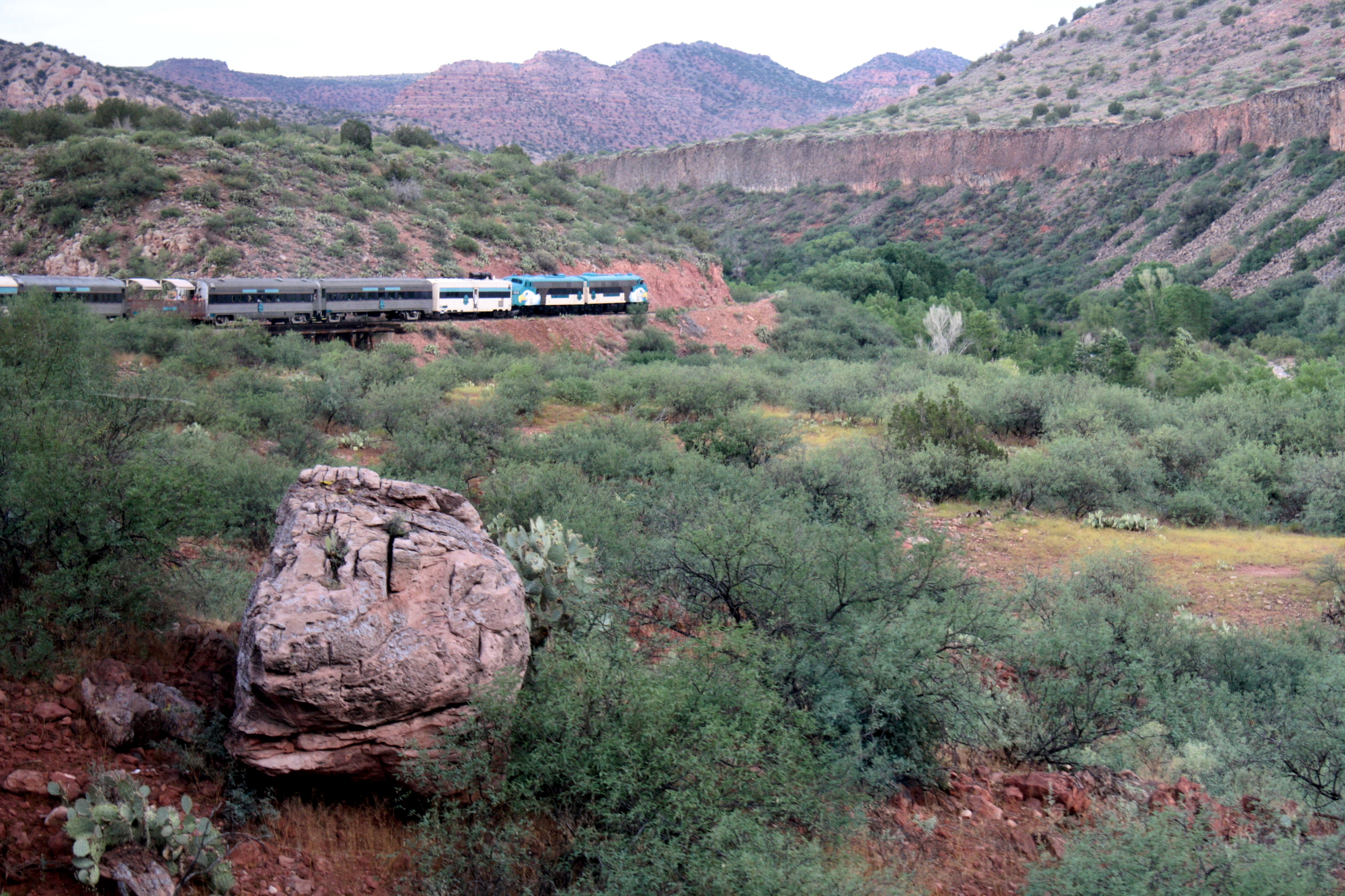 Sunset in Canyon with Train