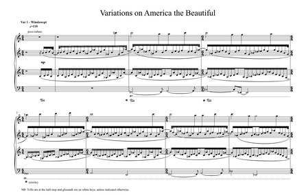Variations on America the Beautiful for Solo Piano (1992/2020, 20 minutes)