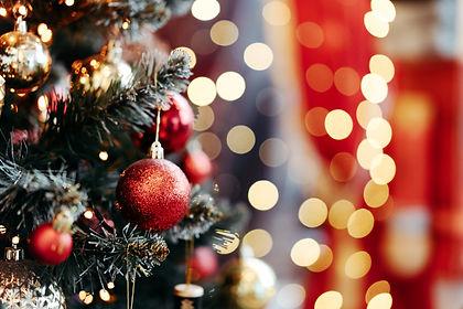 Close up of balls on christmas tree. Bok