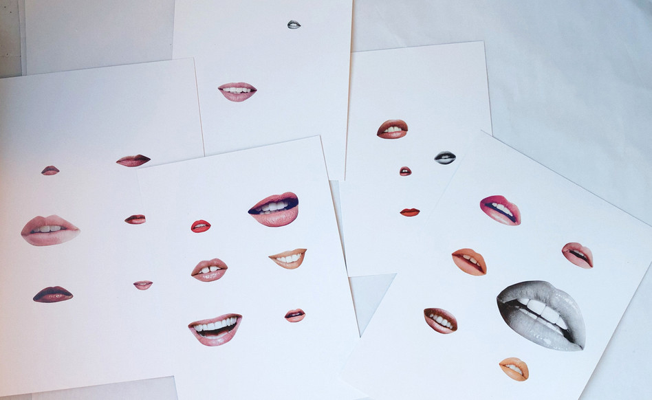 Series of collages experimenting with the absurdness of female lips in advertising. Therapy project, 2018.