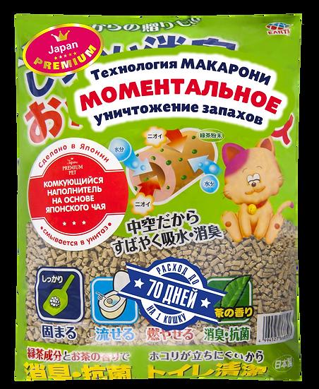 Наполнитель растительный на основе японского чая, смывается в туалет, 7 л