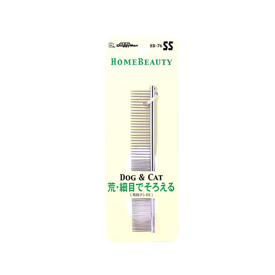 Металлический гребень на ручке с частыми и редкими зубьями. Размер S