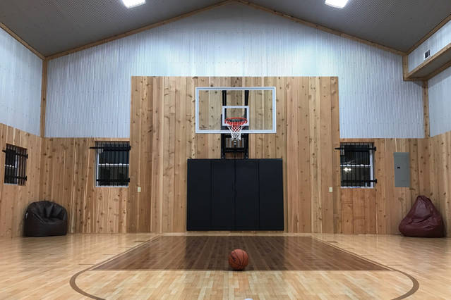 Inside the basketball gym