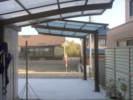 住宅新築時の外構カーポート屋根とシャッター設置(豊中市)