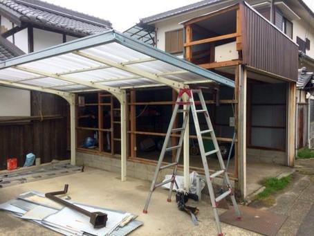 台風被害、火災保険対応で車庫修理(箕面市)