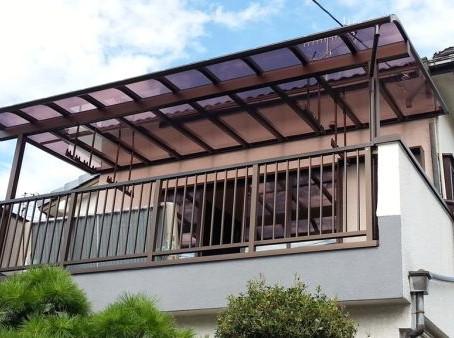 【施工事例】兵庫県伊丹市にてベランダ手摺交換と屋根設置
