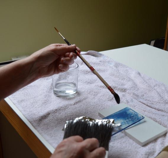 Silver leaf gilding on cyanotype glass