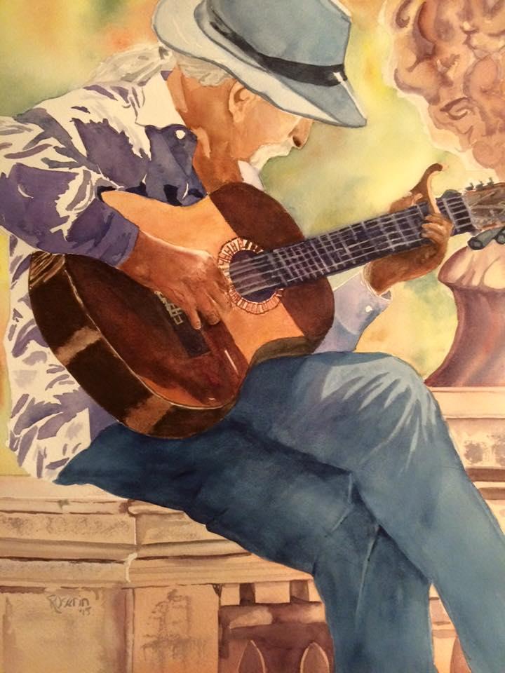 The Guitarist 16x20 watercolorSOLD