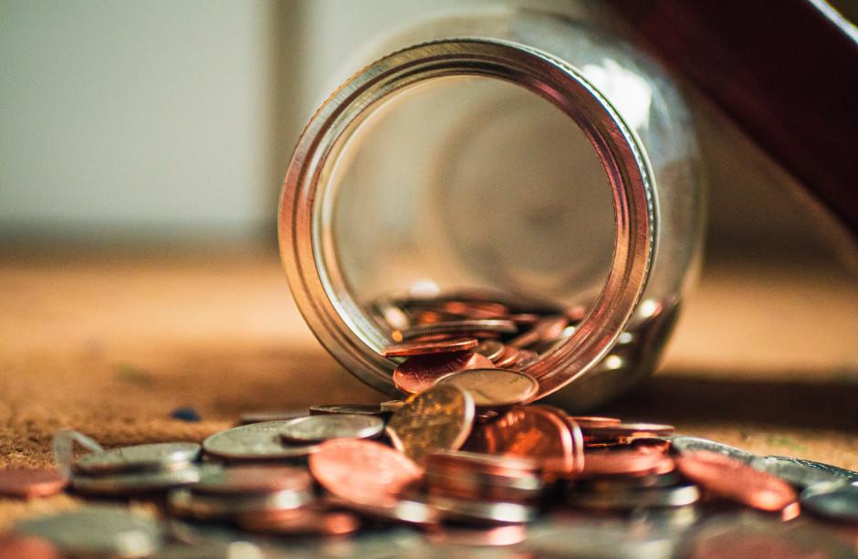 Coin jar spilled