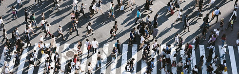 A crowded pedestrian crossing.