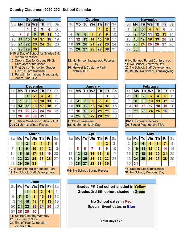 Country Classroom 2020-2021 School Calen
